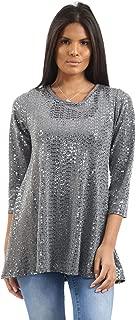 Rimi Hanger Womens 3/4 Sleeve Flared Sequin Swing Top Ladies Xmas Party Fancy Dress Shirt AU 14-28