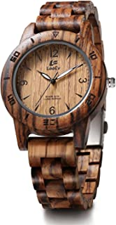 EV2076 41.5 mm Luxury Natural Zebra Sandal Wood Watch Quartz Light Weight Vintage Wooden Wrist Watch (EV2076C)