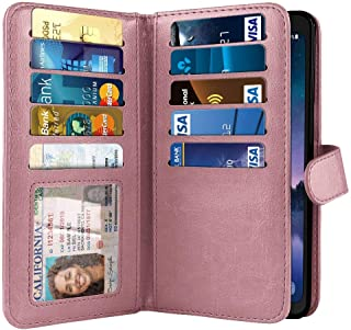 NEXTKIN Case Compatible with Samsung Galaxy S8 Active G892A 5.8 inch, Dual Wallet Folio TPU Cover, Pockets Double Flap, Card Slots Button Strap for Galaxy S8 Active (NOT FIT S8/ S8 Plus) - Rose Gold