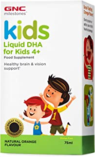 GNC Milestones® Kids Liquid DHA. sabor a naranja natural. para niños