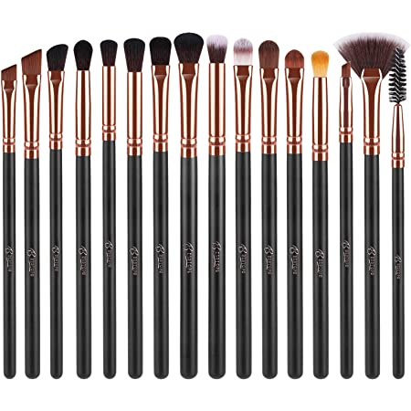 BESTOPE 16 Pcs Eye Makeup Brushes, Professtional Eyeshadow Brush Set with Soft Synthetic Hair & Premium Wooden Handle for Eyeshadow, Eyebrow, Fan, Eyelash, Blending (Rose Gold)
