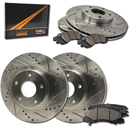 KT012481 Max Brakes Front Elite Brake Kit Fits: 1997 97 1998 98 1999 99 2000 00 Chevy Malibu E-Coated Slotted Drilled Rotors + Ceramic Pads