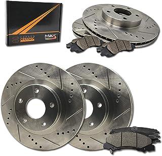 Max Brakes Front & Rear Performance Brake Kit [ Premium Slotted Drilled Rotors + Ceramic Pads ] KT088733 Fits: 1991-1995 Acura Legend | 1996-1998 RL | 1995-1998 Honda Odyssey
