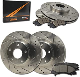 Max Brakes Front & Rear Performance Brake Kit [ Premium Slotted Drilled Rotors + Ceramic Pads ] KT008633 | Fits: 2005 05 2006 06 Mazda 3 2.3L After Jan 2005; Non Turbo Engine Models