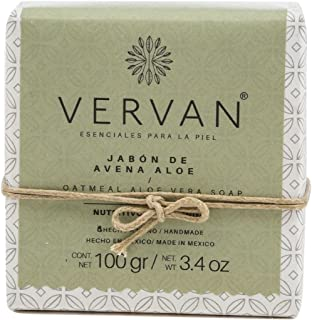 Vervan Oatmeal Aloe Vera Exfoliating Natural Handmade Bar Soap, Cold Process Soap, Scented Soap Bar, Made with Bees Wax, Cocoa Butter, Olive Oil For Sensitive Skin, 3.4 Oz