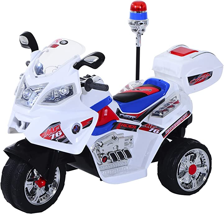 Moto elettrica per bambini motorino giocattolo 3 ruote con musica, luci 112×51×72.5cm homcom IT370-0140631