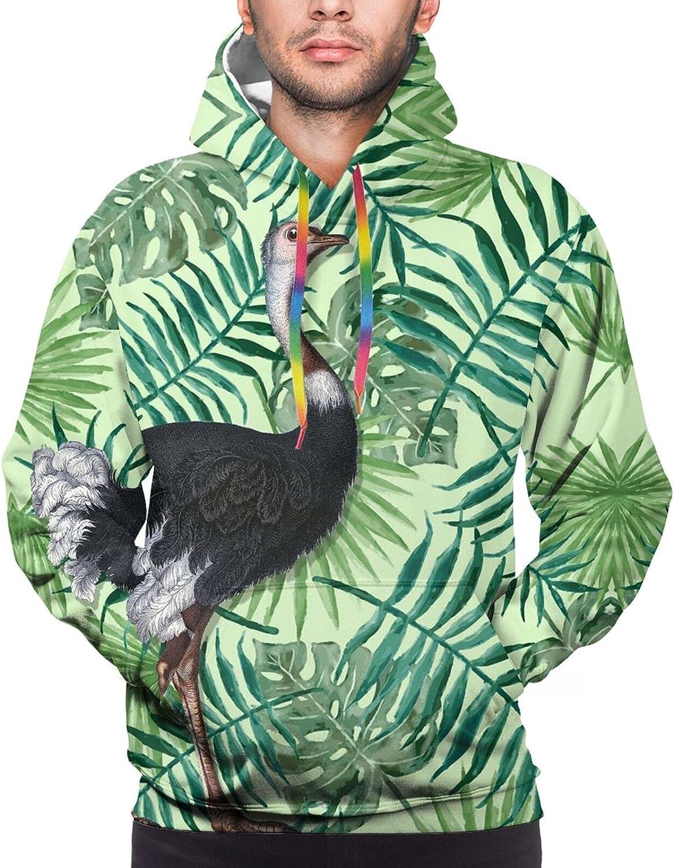 Hoodie For Men Women Unisex Black Flamingo Plam Leaves Hoodies Fashion Sweatshirt Drawstring
