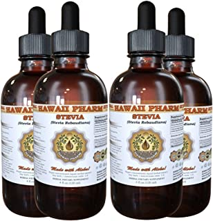 Stevia Liquid Extract, Organic Stevia (Stevia Rebaudiana) Tincture, Herbal Supplement, Hawaii Pharm, Made in USA, 4x4 fl.oz