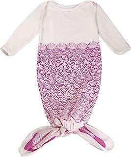 Mrotrida Newborn Swaddle Blanket Cute Baby Onesies Long Sleeves Mermaid Print Sleepwear Gowns Small Rose