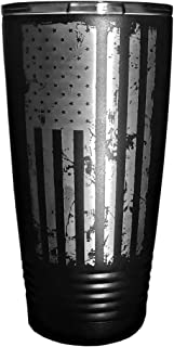 MANNERZ 20oz. Insulated Tumbler With Laser Etched American Flag. Drink Coffee, Hot, Cold, Any beverage in the USA
