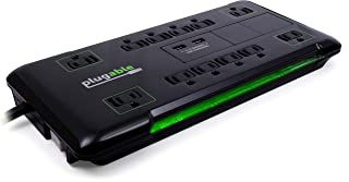 Plugable Surge Protector Power Strip with USB and 12 AC Outlets, Built-in 10.5W 2-Port USB Charger for Android, Apple iOS,...