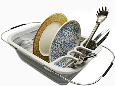 SAMMART Expandable & Collapsible Dish Drainer with Drainer Board - Foldable Drying Rack Set - Portable Dinnerware Organiz