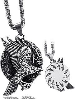Elfasio Norse Viking Oidn Stainless Steel Necklace for Men Nordic Cross Crow Raven Rune Amulet Pendant Vintage Original Je...