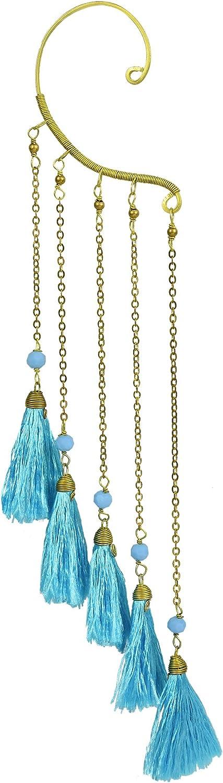 Trendy Multi Light Blue Tassel Brass Chain Statement One Ear Cuff Earring