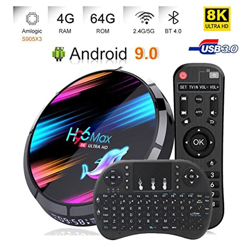Android 9.0 TV Box 4GB 64GB EstgoSZ H96 Max X3 Android TV Box Amlogic S905X3 64-bit A55 CPU G31 GPU Support 2.4G/5G Wifi/1000M LAN/BT 4.0/USB3.0/H265/HD2.1/3D 4K/8K Smart TV Box with Wireless Keyboard
