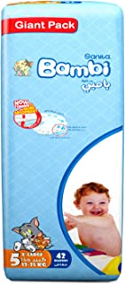 Sanita Bambi Baby Diapers Giant Pack Size 5, X-Large, 13-25 KG, 42 Count