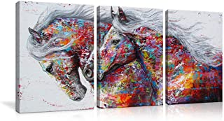 AMEMNY Graffiti Colorful Horse Canvas Abstract 3 Panel Wall Art Horse Oil Paintings Wild Animals Prints Poster with Vivid Color for Living Bedroom Home Decor Framed Ready to Hang