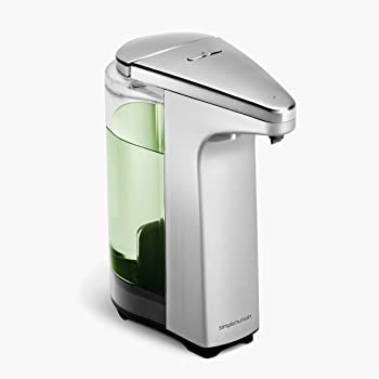 simplehuman 8 oz. Touch-Free Sensor Liquid Soap Pump Dispenser with Soap Sample, Brushed Nickel