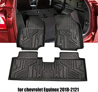 Floor Mats Compatible for Chevrolet Equinox,3D Desdign TPE All Weather Floor Liners Custom Fit Chevrolet Equinox 2018. 2019.2020.2021Include 1st and 2nd Row Front&Rear Black Car Liner.Car Accessories