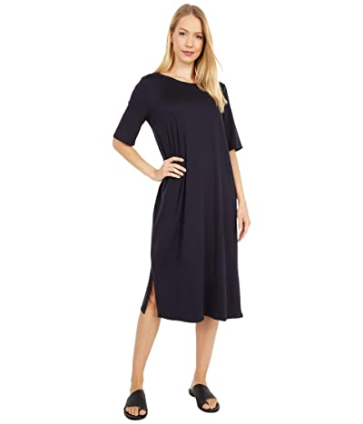 Eileen Fisher Round Neck Short Sleeve Dress (Ink) Women