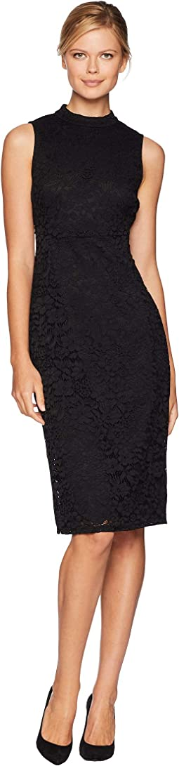 Lace Mock Turtleneck Sheath Dress