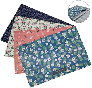 Bearda 4PCS A4 File Filling Envelopes- Premium Cute Floral Document Holder Bags Waterproof Poly Paper Pouch Letter Size File Storage with Snap Button for School, Office, Home,Collection Organizer
