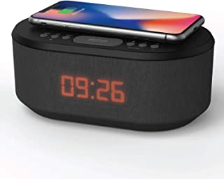 i-box Bedside Wireless Charging Alarm Clock Radio with Dimmable LED Display - Non Ticking Mains Powered Dual Alarm Clock w...