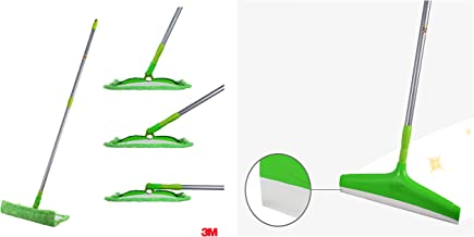 Scotch-Brite Flat Mop and Refill Combofor Magic Easy Floor Cleaning & Scotch-Brite Plastic Floor Squeegee Wiper -with Telescopic Handle (Green/Silver)