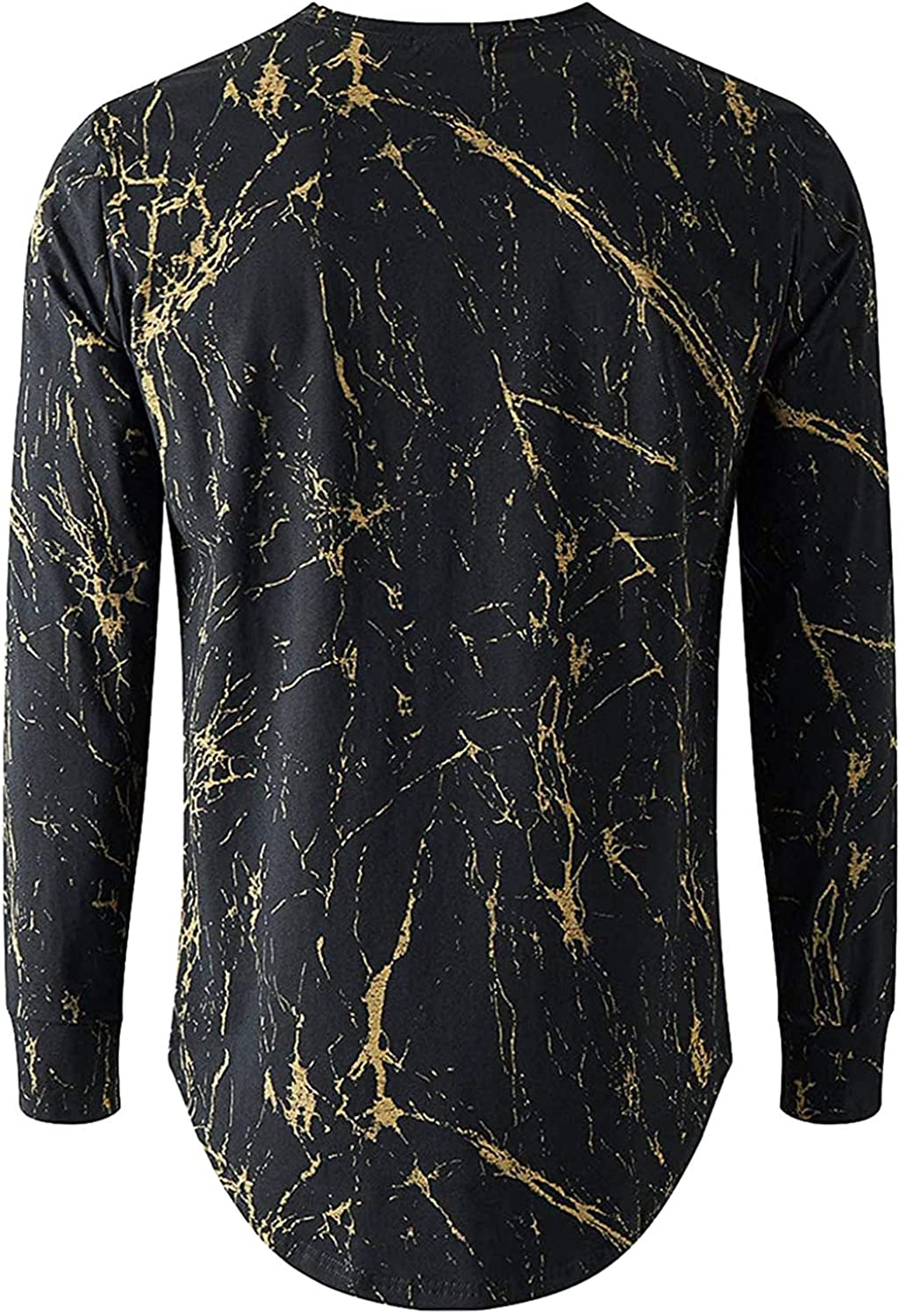 xoxing Long Sleeve for Men Casual Plus Size Loose Round Neck Hem Printed Top T Shirts Top Blouse Pullover Autumn
