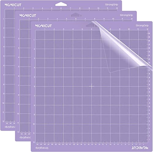 Monicut 12x12 Cutting Mat for Cricut Explore One/Air/Air 2/Maker(Stronggrip, 3 Pack) Adhesive&Sticky Non-Slip Flexibl...
