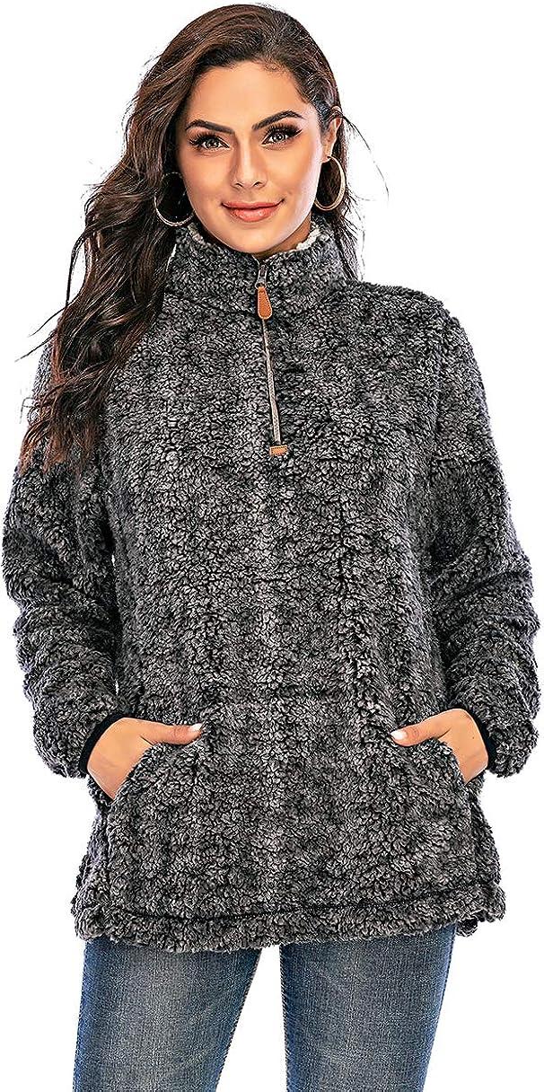 Les umes Womens Long Sleeve Mock Neck Polar Fleece Lined Sherpa 1//4 Zipper Jacket with Front Kangroo Pocket
