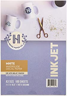 Hayes Paper Co. Waterslide Decal Paper Inkjet WHITE - Decal Paper for Inkjet Printer - A3 Water Transfer Paper, 100 Sheets... photo