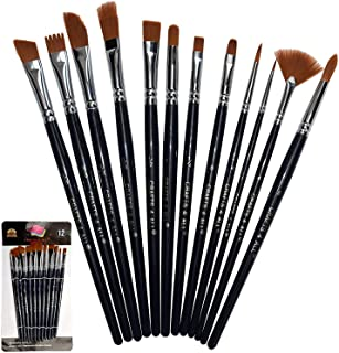 Best Crafts 4 All Paint Brushes Set Professional Fine Round Pointed Nylon Artist Brush Tips for Acrylic Watercolor and Oil Painting Professional - Set of 12 Review