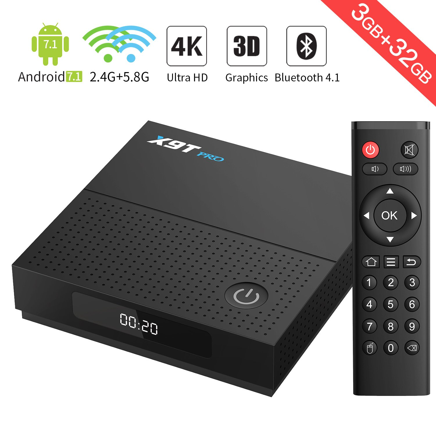 Android TV--X9T PRO Android 7.1 TV Box Amlogic S912 Octa-Core 3G+32G con 2.4G +5.8G WiFi 1000M LAN Port BT 4.1 4K/2K H.265 Decodificación de Video Smart TV Box: Amazon.es: Electrónica
