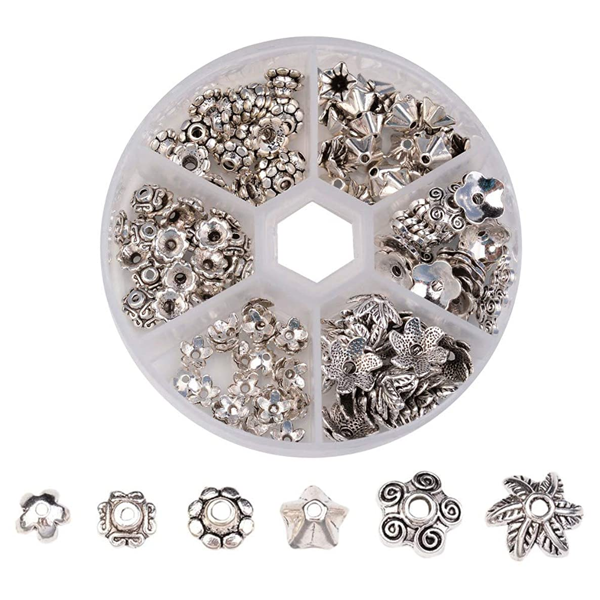 Pandahall 1Box/180pcs Tibetan Style Alloy Flower Petal Bead Caps Beads Spacers for Jewelry Makings 7~10mm in Diameter Antique Silver TIBE-JP0002-AS