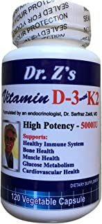 Dr. Z's - Vitamin D3 with K2 - Immune System, Bone & Teeth, Muscle - 5000 IU of Vitamin D3 & 100 mcg of Vitamin K2 - MK7 - 120 Small, Easy to Swallow Veggie Capsules