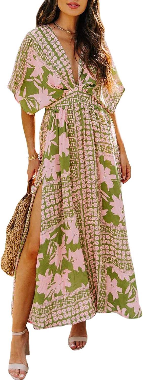 Linsery Women's Summer Maxi Dress Deep V Neck Split Long Kaftan Dress Flowy Kimono Beach Cover Up