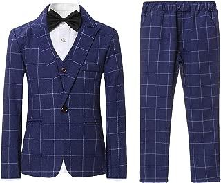 Boys Plaid Suits 3 Pieces Suit Set Blazer Vest Pants Formal 7 Colors for Wedding Party