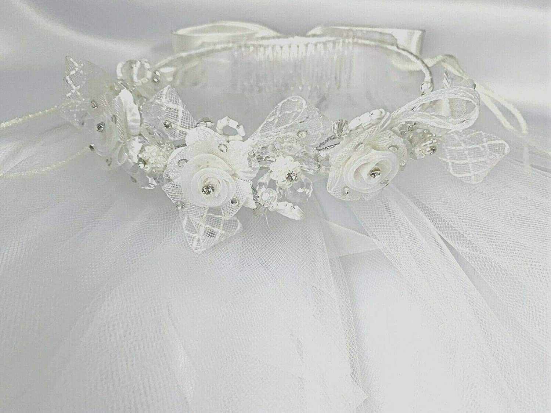 New 5 Styles of Girls 1st Communion Church Wedding Bridal White Veil Flower Girl Wreath Headpiece (V478)