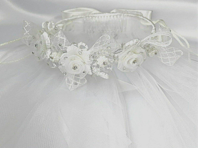 LEADERTUX Girls 1st Holy Communion Wedding Bridal Veil Tiara Rhinestone Flower Girl Headpiece