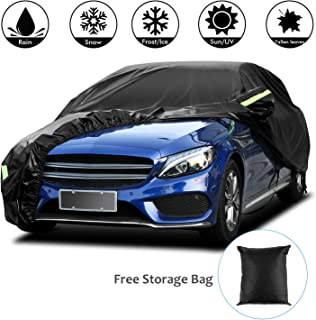 Funda para Coche Exterior Negra 210T Impermeable Lona para Coche Cubierta Coche Exterior contra Sol Nieve Polvo Viento Tamaño Universal (5.3 * 2 * 1.5m/208 * 78 * 59 in/210T)