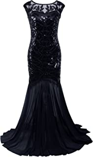 Vijiv 1920s Long Prom Dresses Sequins Beaded Art Deco Evening Party V Neck Back
