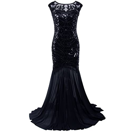 dd85f42ce23 Vijiv 1920s Long Prom Dresses Sequins Beaded Art Deco Evening Party V Neck  Back