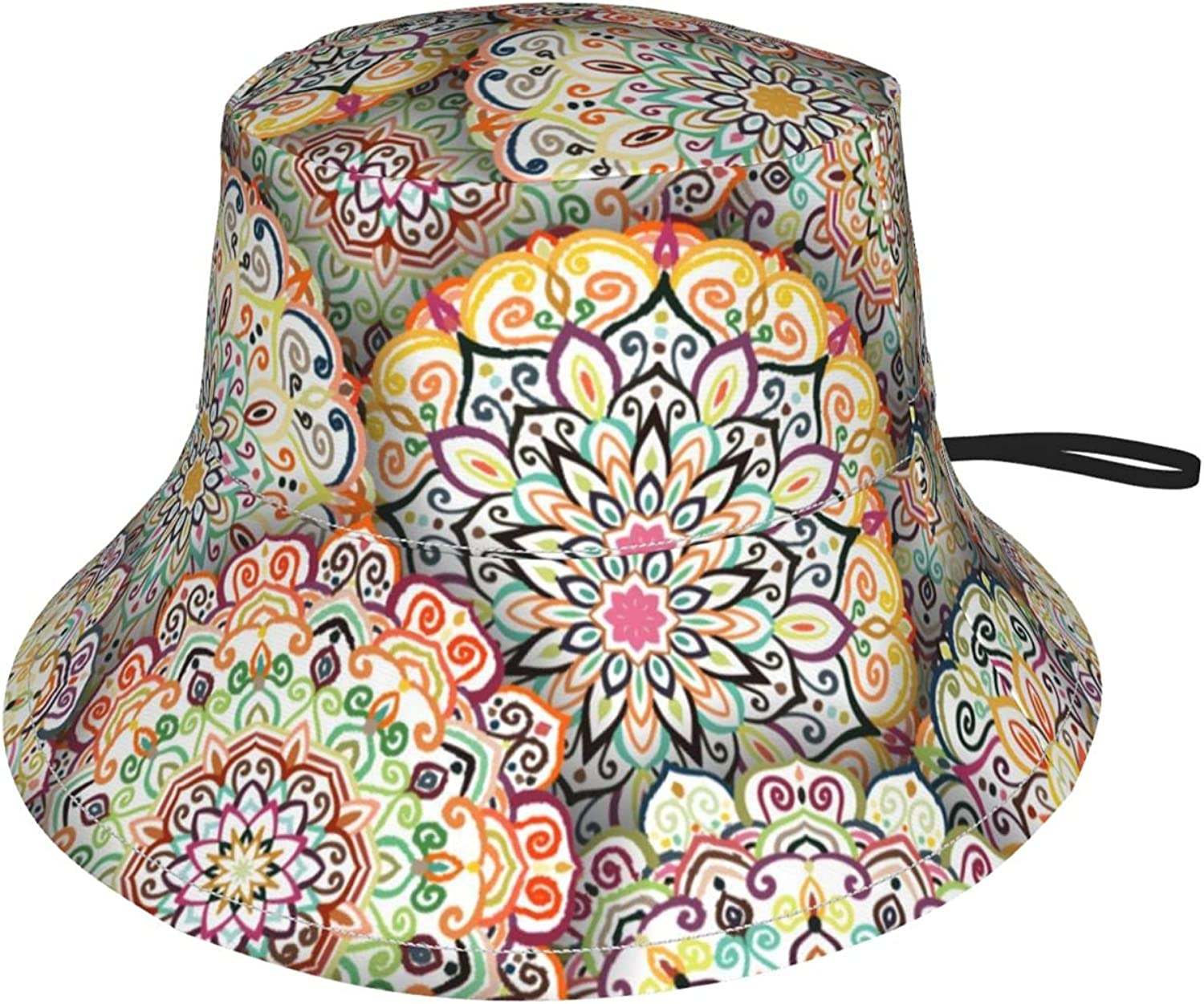 Kids Bucket Hat Intricate Mandala Floral Pattern Wide Brim Sun Protection Fishing Hat for Boys and Girls Outdoor Activities