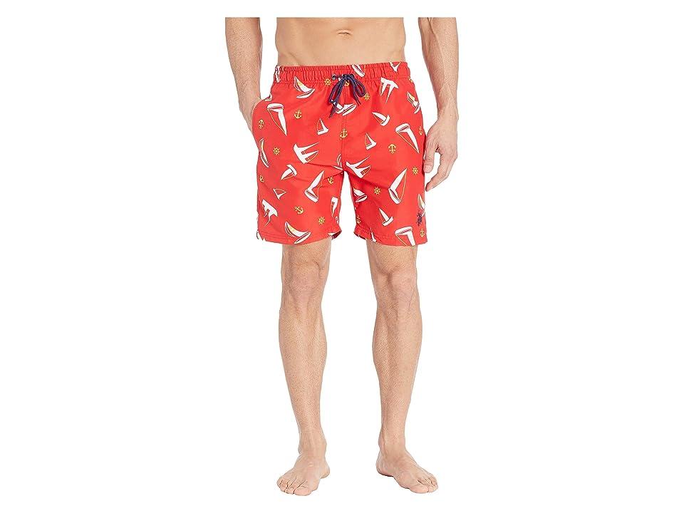 U.S. POLO ASSN. Sailboat Swim Shorts (Engine Red) Men
