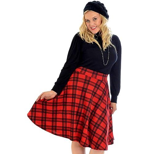 be1cc07b2 Nouvelle Collection New Ladies Tartan Plus Size Skater Skirt Womens  Scottish Check Midi Skirt