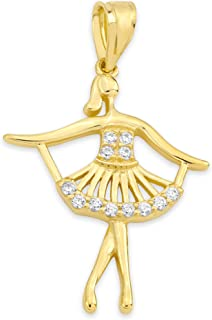 10k Real Solid Gold Balet Dancer Pendant with CZ Stones, Hobby Jewelry Dancing Charm Gifts for Students