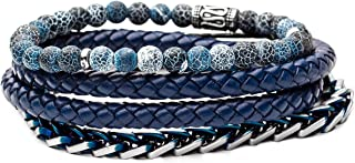 """Tribal Hollywood Men's Stacking Bracelets with Leather and Beads   Multi-Strand Designs   Stainless Steel Metalwork Detail   8"""" - 8 ½"""" Length   3mm, 4mm, 6mm, 8mm, or 10mm Beads"""