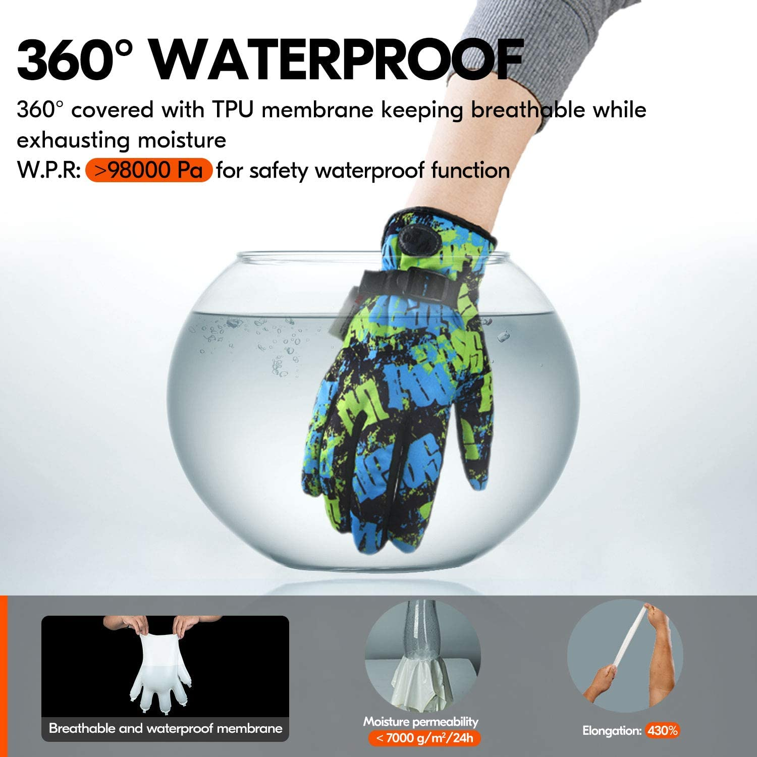 Cycling Age 12-13 Juniors 32℉ or Above 3M Thinsulate C40 Lined Winter Outdoor Gloves Designed for Running Vgo.. Driving/&Texting 1Pair,Size M,Yellow/&Blue,SL221FW