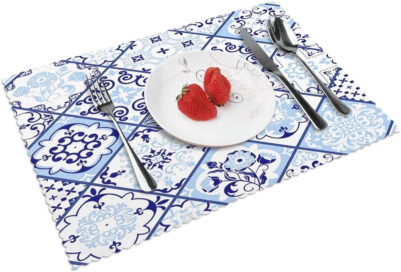 Manteles Individuales Portugal Azulejo Patchwork, Mantel Individual Antideslizante Resistente Al Calor Salvamanteles Juego De 4 para La Mesa De Comedor De Cocina, 45x30 cm